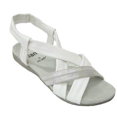 Damskie sandały Jana, kolor srebrno-biały