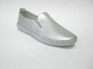 buty wsuwane srebrne skórzane