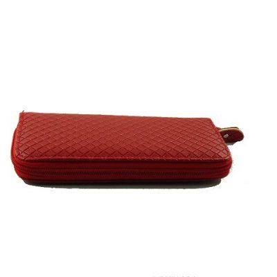 Czerwony pikowany portfel damski