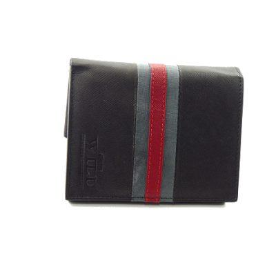 Męski portfel z szaro/czerwonym paskiem