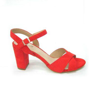 Czerwone sandały na obcasie DK