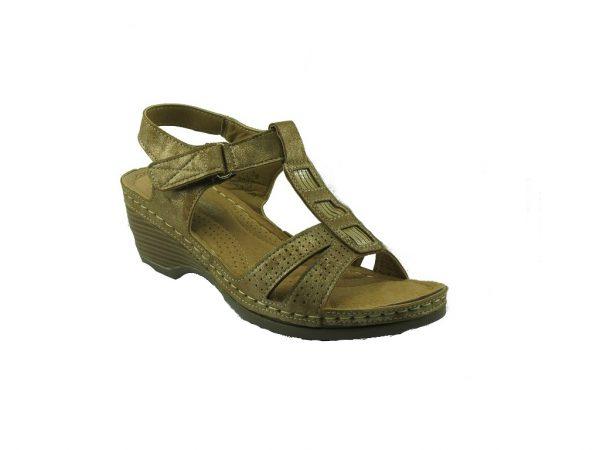 Złoty sandał na koturnie DK