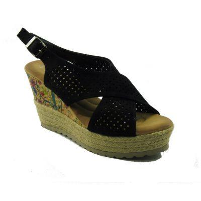 Czarne sandały na koturnie DK