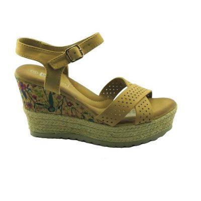 Beżowe sandały na koturnie DK