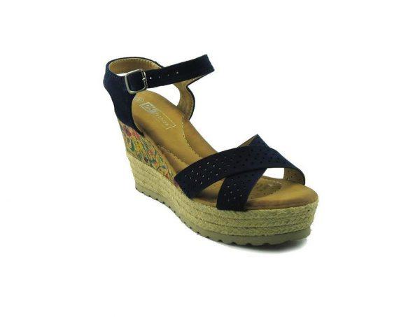 Niebieskie sandały na koturnie DK