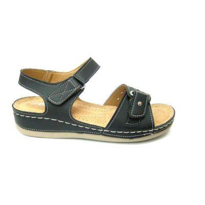Czarne sandałki na płaskiej podeszwie