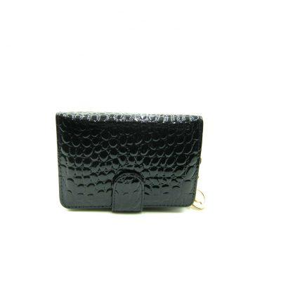 Czarny lakierowany damski portfel